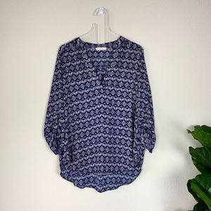 Lush Women's Lavender/Blue Print Blouse Size XL
